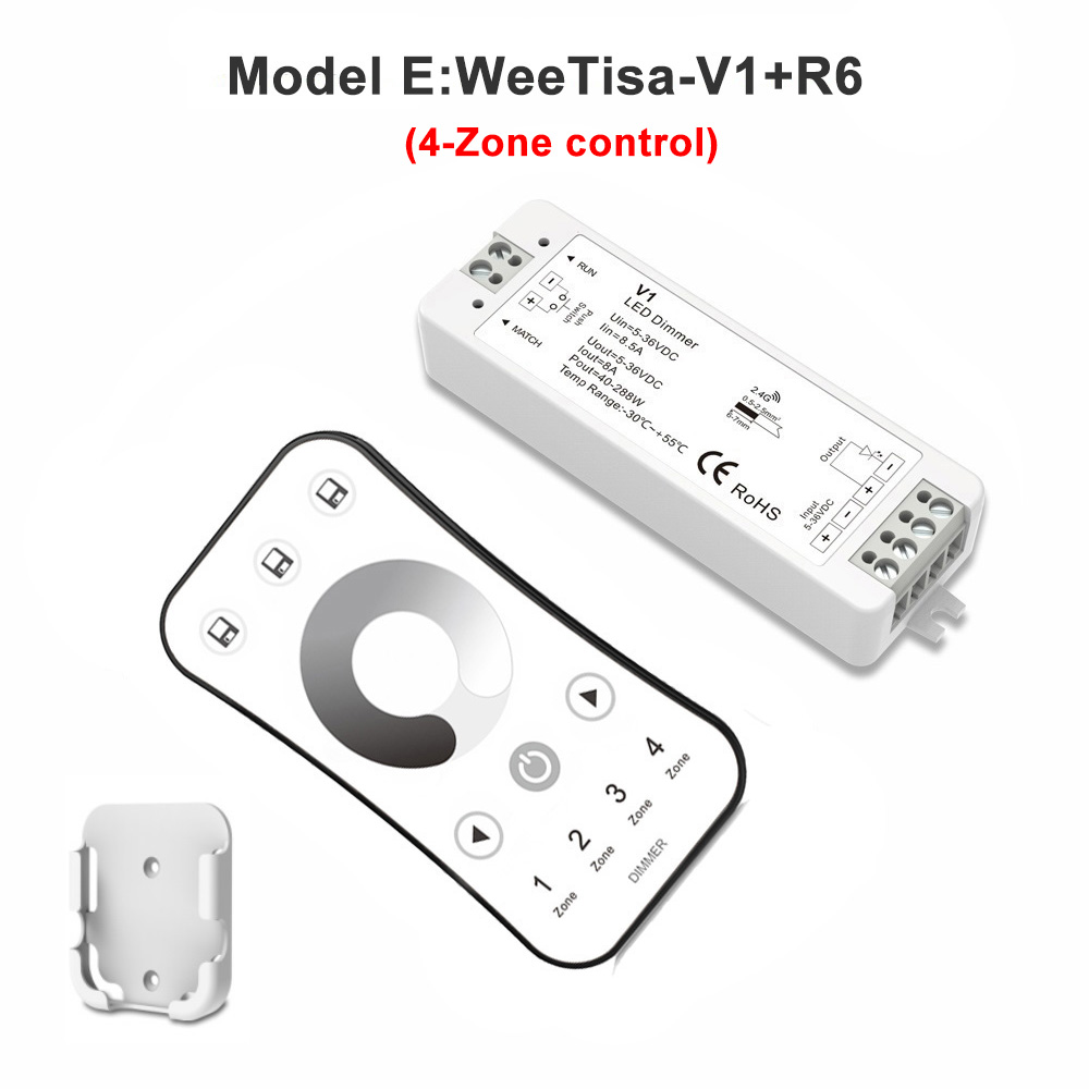 LED Dimmer Switch PWM Wireless RF 2 4G 4-Zone Touch Remote Smart Home Wifi  Relay DC12V 24V Controller for Single Color LED Strip