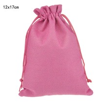 12x17cm 50pcs/lot Rose Red Cheap Custom Jute Drawstring Bag with Pouch Sack Favor Gift jewelry package bag for Weddings Parties