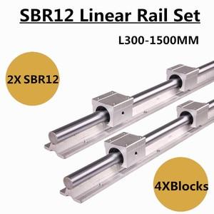 Image 2 - 2Set SBR12 300 400 500 600 800 1000 1200 1300 1500mm Fully Supported Linear Rail Slide Shaft Rod With 4Pcs SBR12UU Bearing Block
