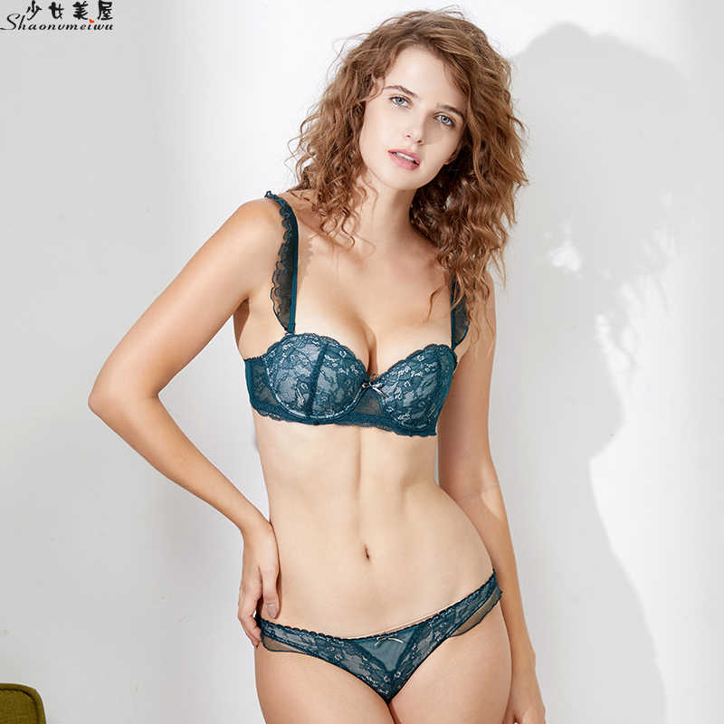 257c1c16f ... shaonvmeiwu Sexy lacy lingerie bra set for ladies gathered around a  slim model cup and a ...