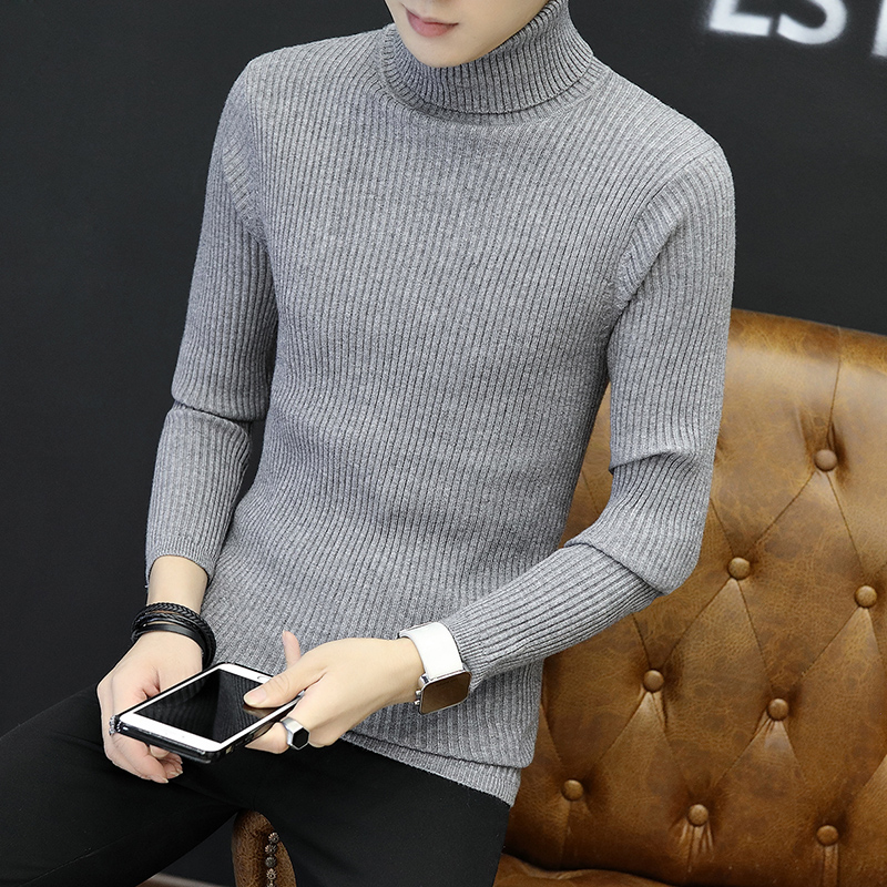 Men's Sweater Korean Autumn Winter High-Necked Plus-Size Fashion New 5XL Solid Cultivating