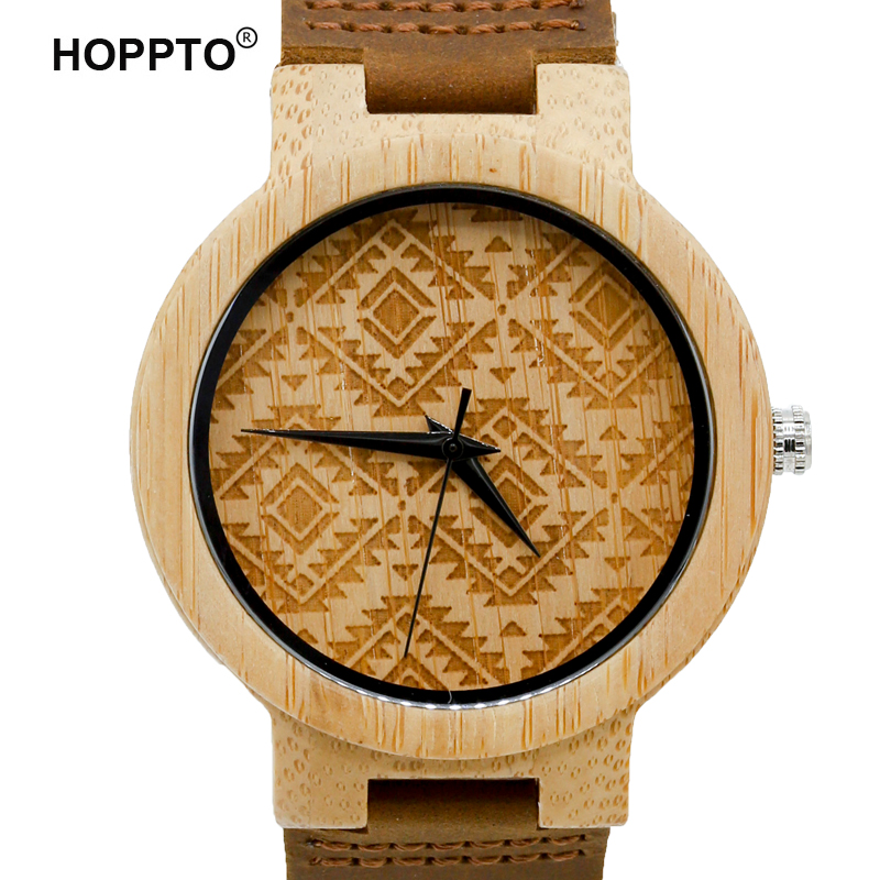 HOPPTO Brand 2017 Women Fashion Bamboo Wooden Men Wristwatch Genuine Cowhide Leather Band Lovers' Wood Watches relogio feminino fashion new antique genuine cowhide leather band lovers luxury watches zebra wood bamboo wristwatch for women as best gifts