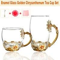 Enamel Glass Mug Daisy Flower Tea Cup with Spoon Water Milk Coffee Drinkware Cup Mug Kit Wedding Gift W/ Coaster and Wipe Cloth