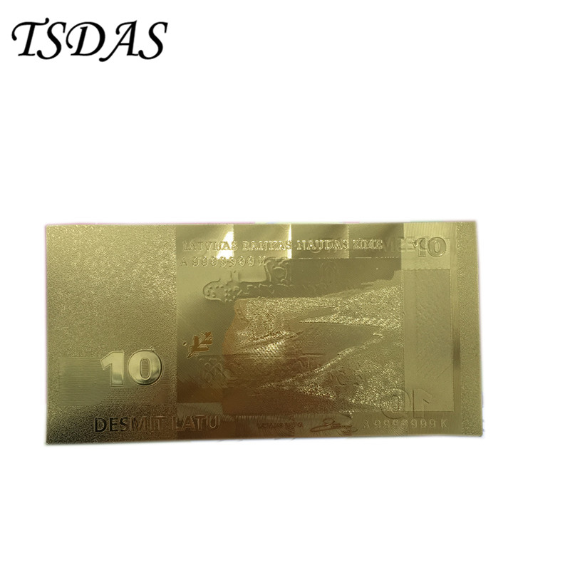 Normal Gold Banknote Rare Latvia 10 Lat Double Sides, Replica Fake Money Plated Gold Collection Business Gift