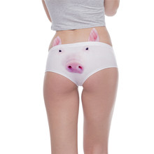Yeni varış kadın moda kulak iç çamaşırı Kawaii domuz 3D baskı seksi külot kadın iç çamaşırı