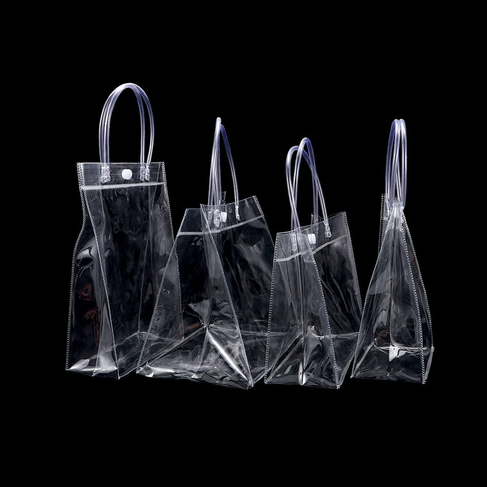 1pcs New Clear Transparent Tote Bags Handbag Friendly Environmentally Plastic Bag Shoulder Handbag Gift Shopping Bags