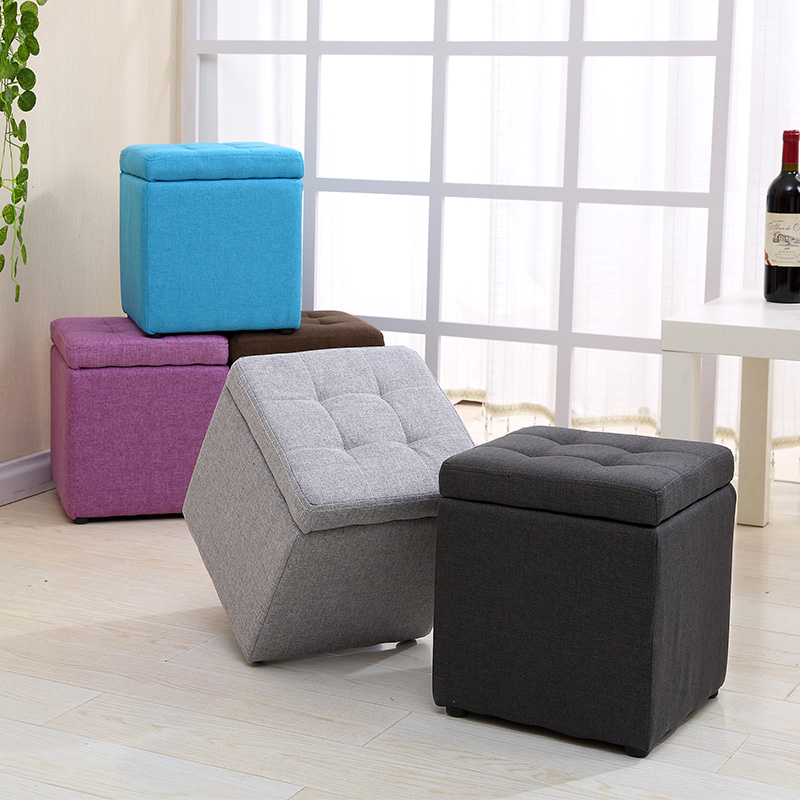 Multifunctional Fabric Storage Stool Bench Box Small Sofa Minimalist Modern Artistic Style Kid Chair Foot Stool 30cm30cm35cm