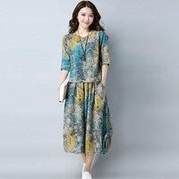 Vintage Floral Print Chiffon Dress Women 2018 New Fashion Two Pieces Set Elastic Waist Long Sleeve Dresses Casual