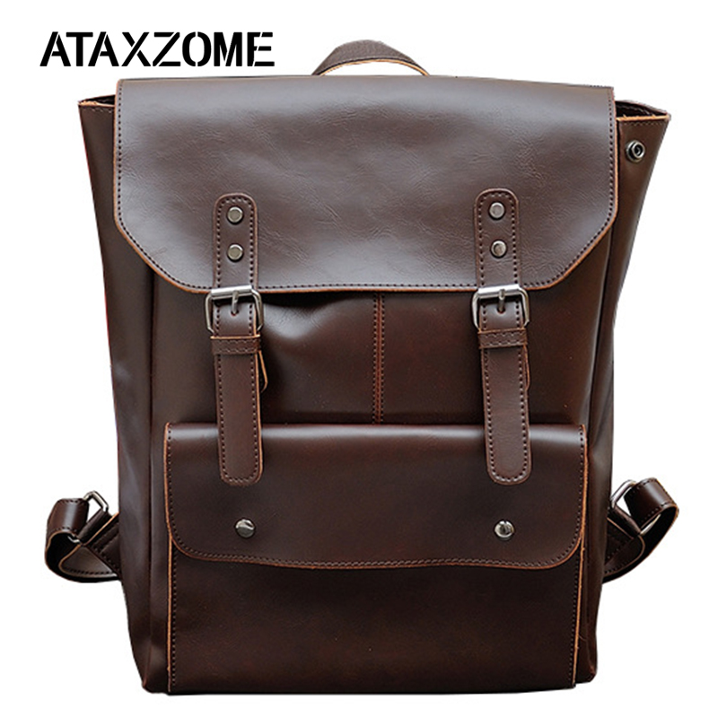 ATAXZONE New Fashion Retro Style Brand Men's Backpack High Quality PU Leather Backpack Mochila YZ6261
