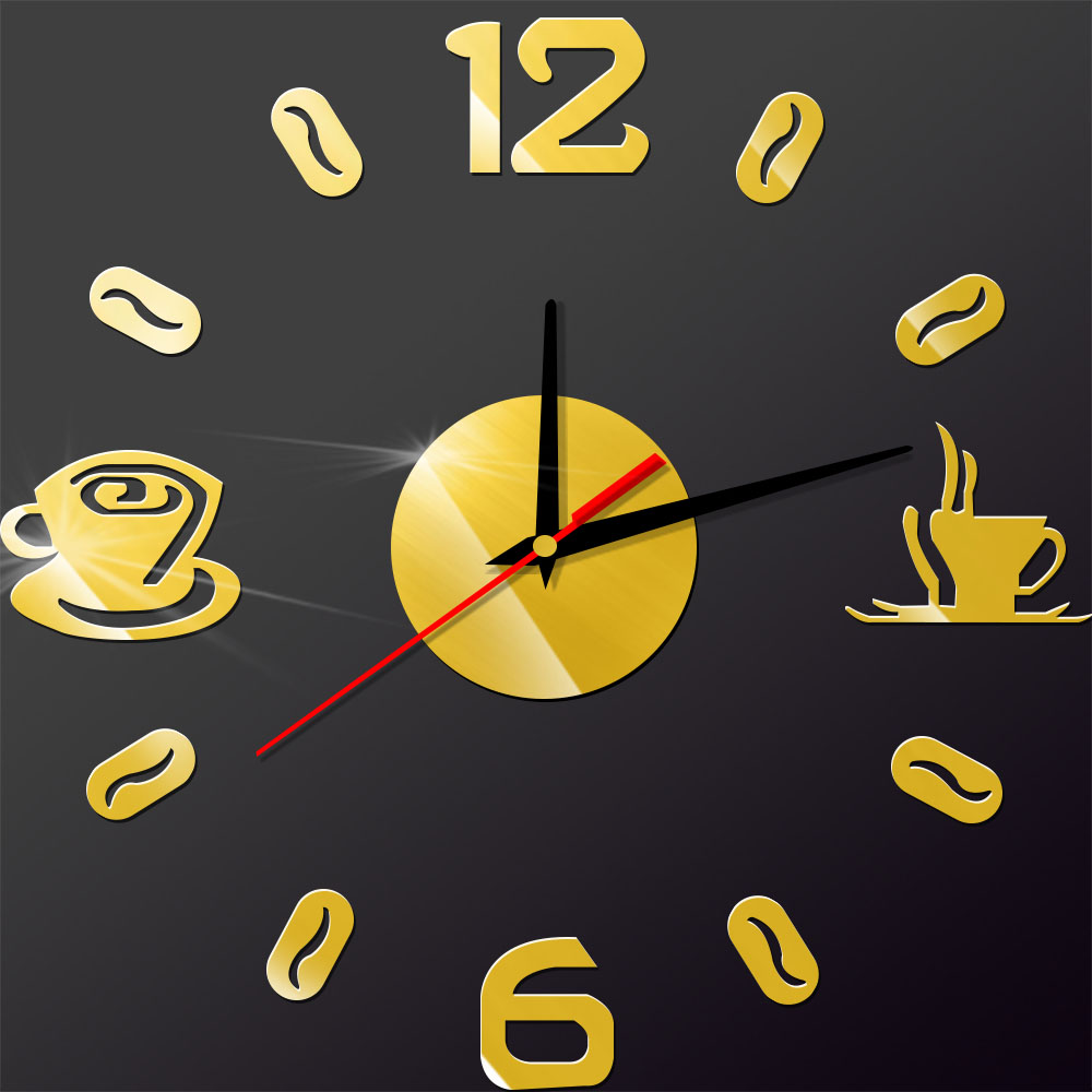 Coffee Cup Numbers Digit 3D Acrylic Wall Sticker Home Modern Wall ...
