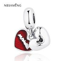 Authentic 925 Sterling Silver Cute Carton Mouse Red Glaze Heart Pendant Bead Charms Fit Pandora Bracelets