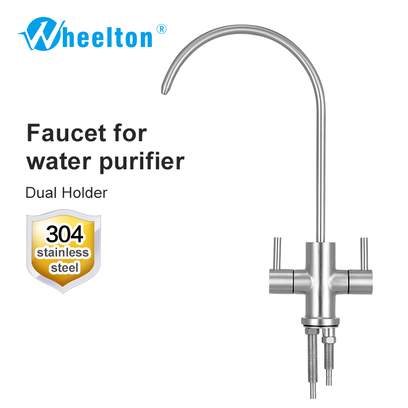 Wheelton RO Faucet 304 Stainless Steel Lead free dual holder Kitchen Drinking Water Tap For Purify