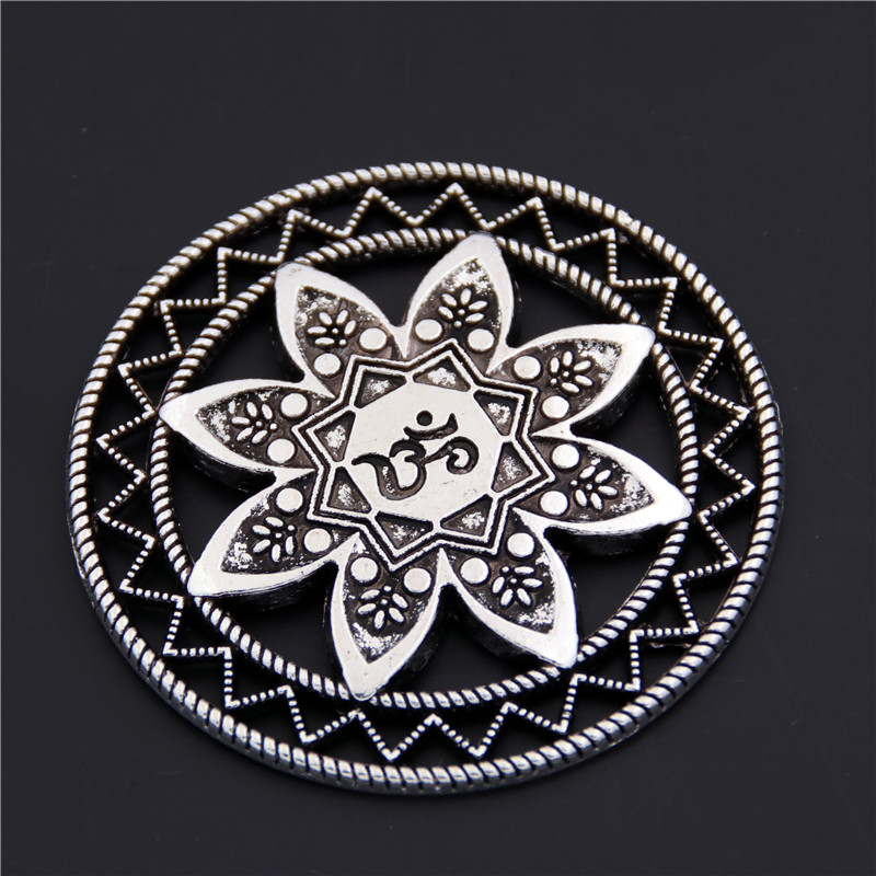 5PCS Antique Silver Alloy Round Carved Mandala Charm OM OHM YOGA Symbol Fit Bracelets Necklace DIY Metal Jewelry Making A2435