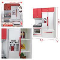 Simulation Kitchen Toys Set Girls Kitchen Toy Room Pretend Play Red House Combined Toys For Children Set with Sound And Light