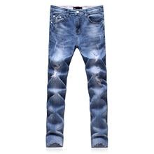 2017 новый мужской моды досуг прямые джинсы мужские брюки с высоким качеством 100% хлопок джинсы тонкий отверстие Лодыжки-длина джинсы мужчины