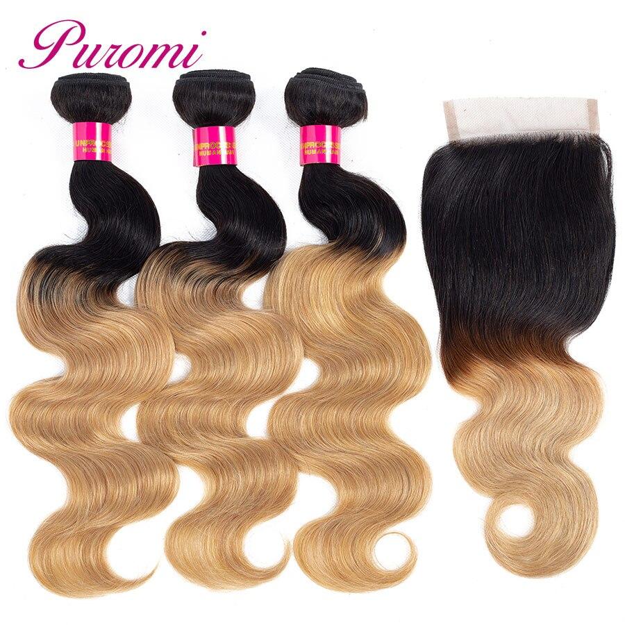 Puromi Hair Products Blonde Bundles con cierre T1b / 27 Ombre Bundles - Cabello humano (negro)