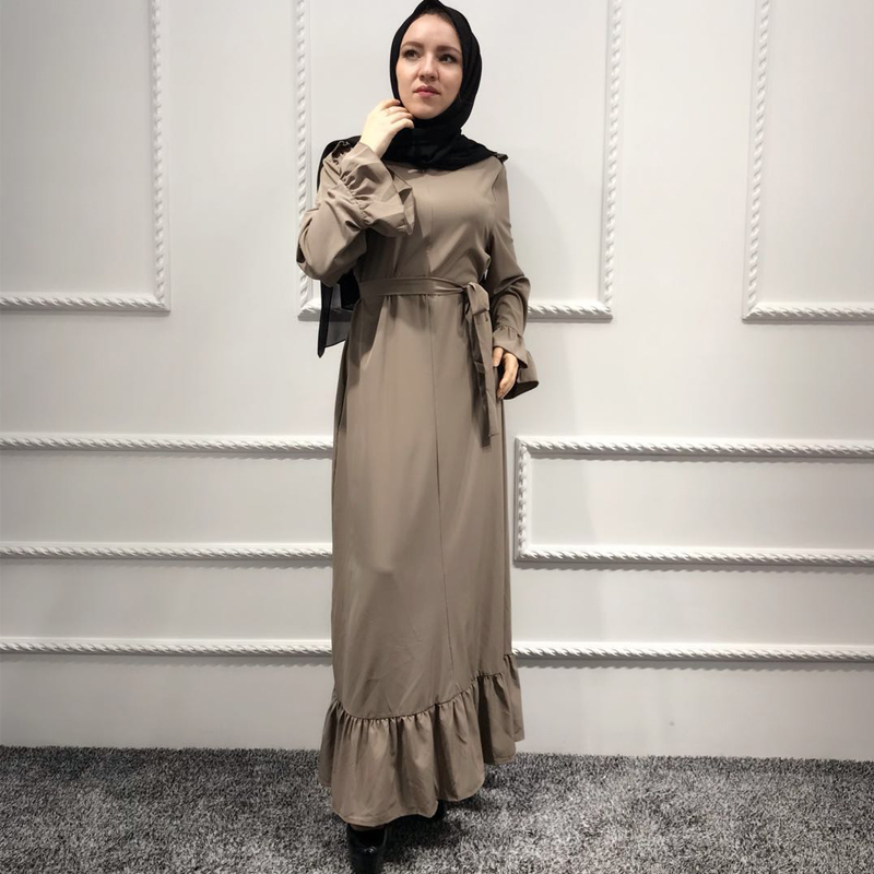 Plus Size Abaya African Kimonos Muslim Women Ruffles Maxi Hijabs Dress Dubai Turkish Isl ...