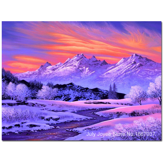 Snow Mountains And Beautiful Sunset Glow Diy Diamond Painting Of Scenery Embroidery With Picture Rhinestones