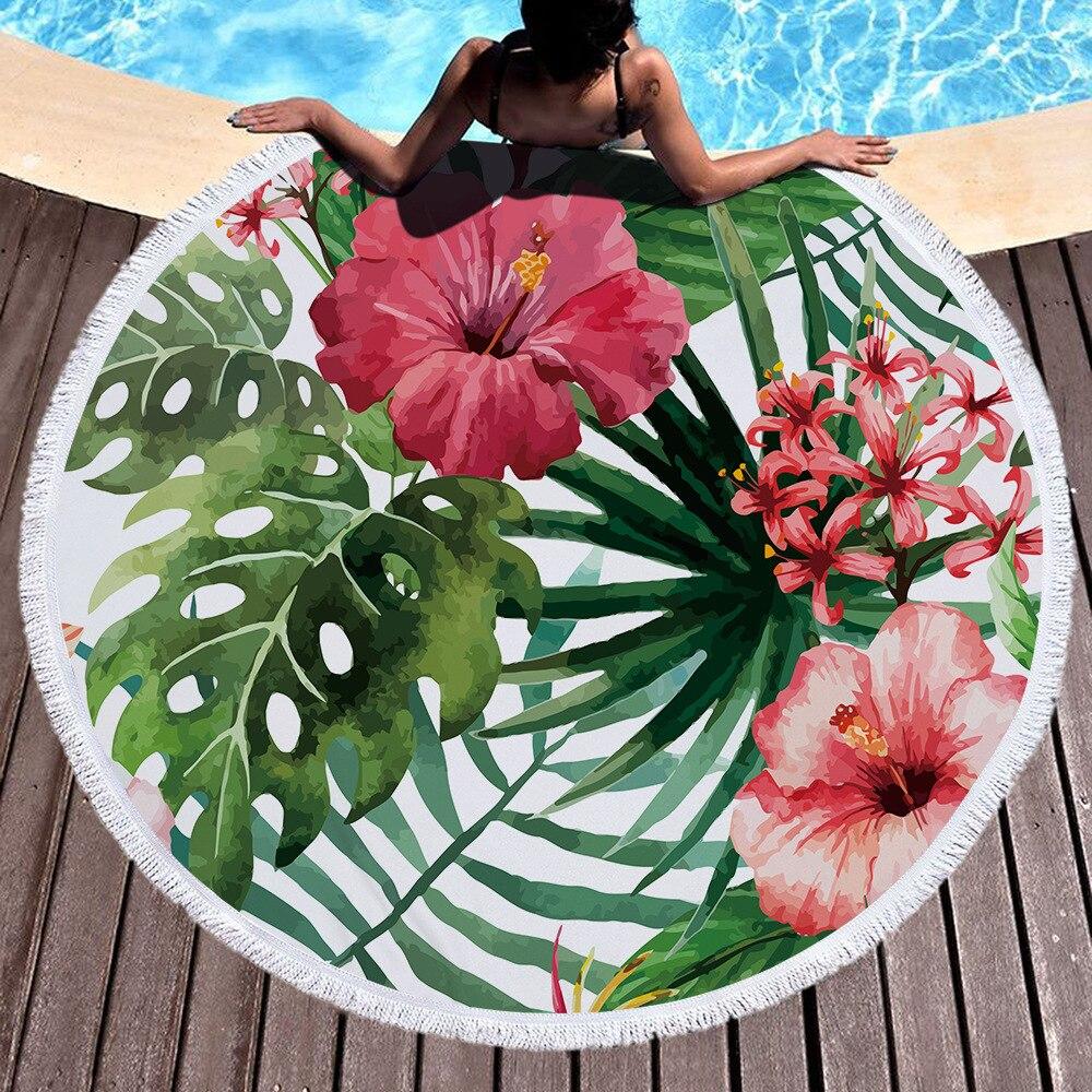 מודפס גדול עלים פרח פלמינגו חוף מגבת מיקרופייבר סיבוב חוף מגבות Roundie מבוגרים מפית דה Plage Toalla Playa
