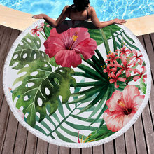 Printed Large Leaves Flower Flamingo Beach Towel Round Microfiber Beach Towels Roundie Adults Serviette De Plage Toalla Playa(China)