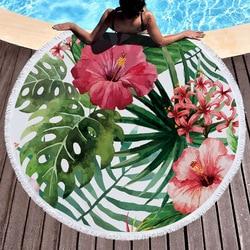 Printed Large Leaves Flower Flamingo Beach Towel Round Microfiber Beach Towels Roundie Adults Serviette De Plage Toalla Playa