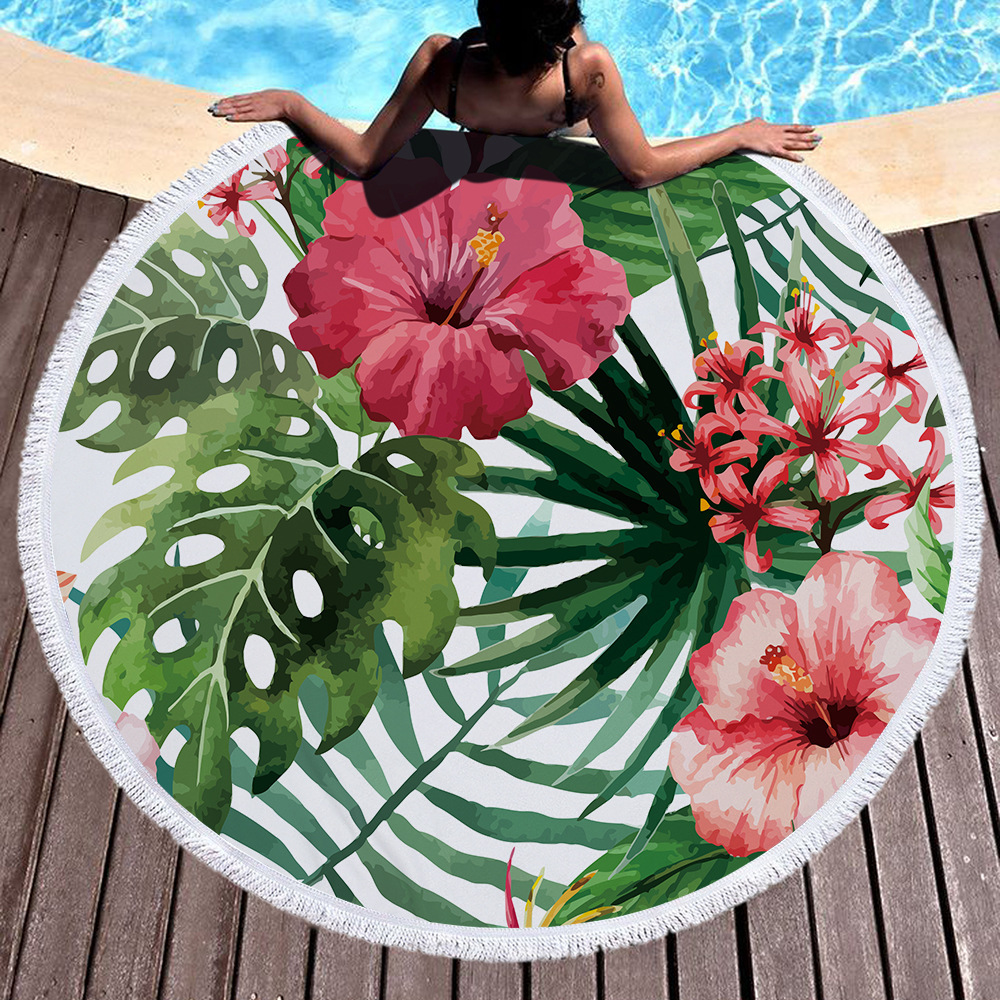 Printed Tropical Leaves Flower Flamingo Beach Towel Round Microfiber Beach Towels Roundie For Adults Serviette De Plage