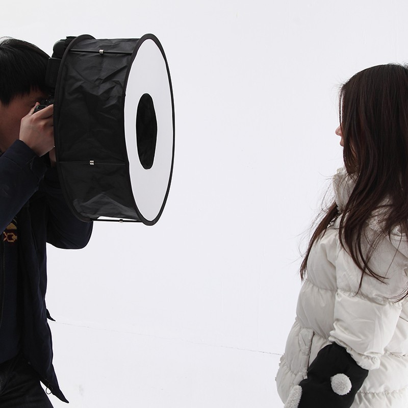 Lightdow 45cm Foldable Ring Speedlite Flash Diffuser Macro Shoot Round Softbox for Canon Nikon Sony Pentax Godox Speedlight 9