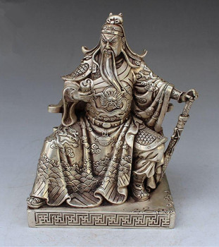Collectible Decorated Handwork Tibet Silver Guan gong guan yu statue family decoration gift metal handicraft Statue.