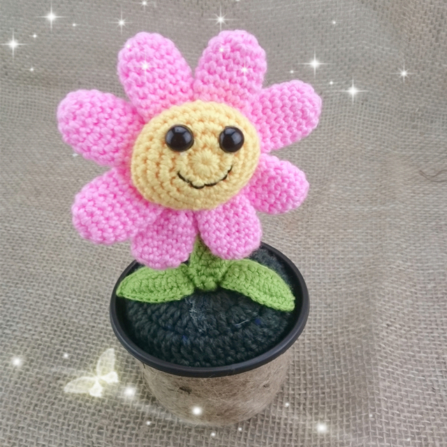 Wholesale Handmade Knitted Crochet Creative Design Pink Artificial Sunflowers Home Desk/Living Room /Office Putting Decorations on Aliexpress.com | ...