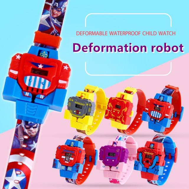 3D Deformação robô transformação Relógio das Crianças das Crianças do bebê Do Homem Aranha Brinquedo de Criança Relógio eletrônico Crianças Relógios Digitais À Prova D' Água