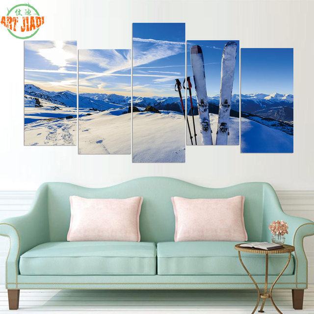 5 Piece Canvas Art Hd Snow Skiing Charming Scenery Snowboarding Paintings Decorations For Home Wall