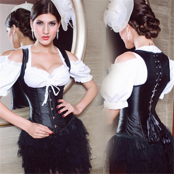 95dd4c127b8  Free shipping 2015 New arrival fashion female retro vintage Corset palace  breast care gather sexy lingerie big size black S-6XL