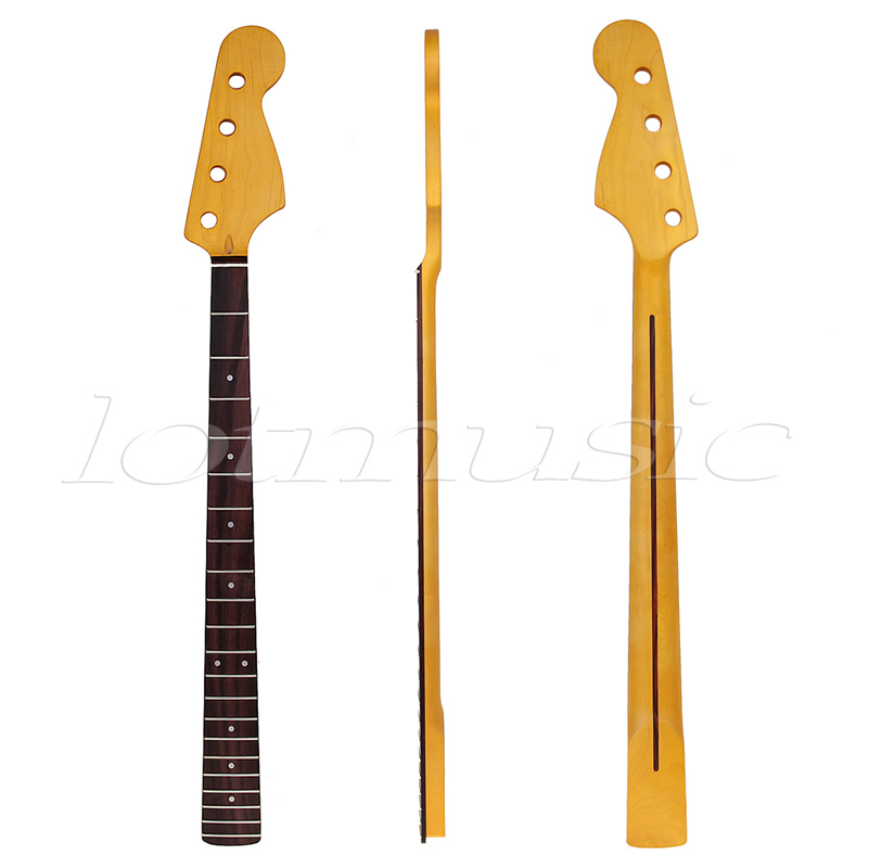 Bass Neck Guitar 4 String 22 Fret for Bass Guitar Neck Replacement Parts Rosewood Fingerboard White Dot Inlay Yellow fretboard markers inlay sticker decals for guitar bass space invaders white pear color
