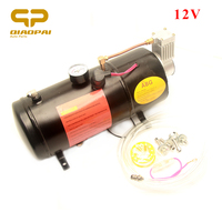 1pc Super Loud Trumpet Air Horn Compressor 12V 3 Liter Horn System Sound Siren Pressure 150 PSI for Truck Car Vehicle Auto Horns