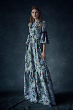 2016 Pre Fall Womens Lookbook Presentation Flare Sleeve Flowers Floral Leaves Foliage Botanical Print Shaggy Tiered Maxi Dress