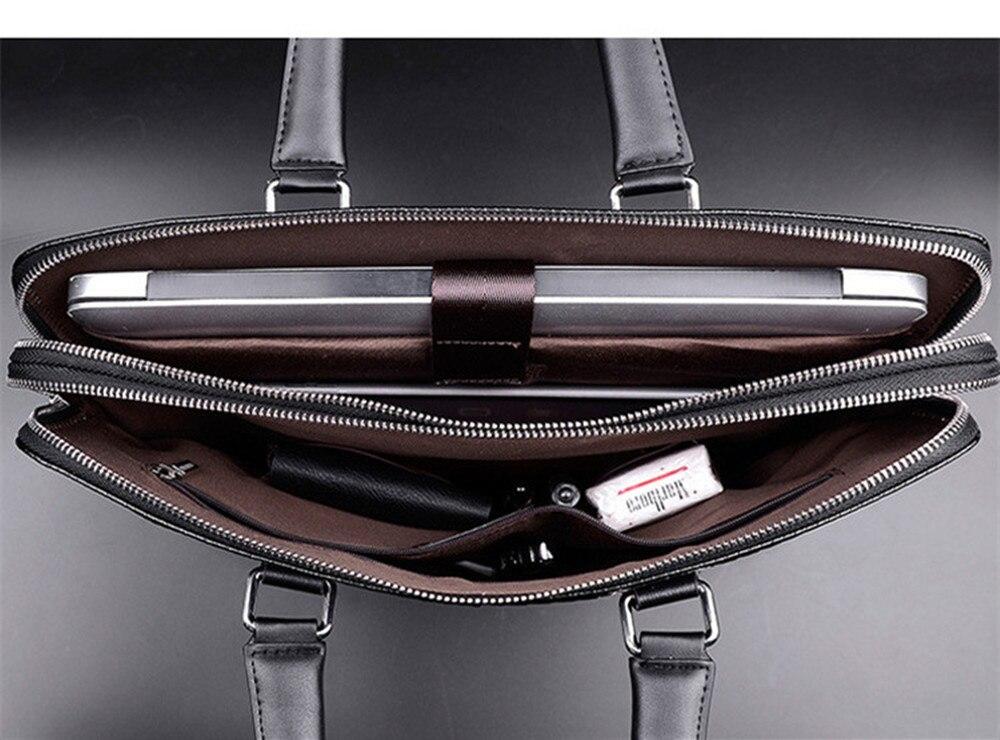 Patrón tejido de lujo de cuero genuino de los hombres bolsos de mano de doble cremallera capas de hombro Casual negro marrón Maletín de negocios - 6