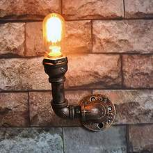 1 Head Loft Vintage Wall Lamps American Industrial Wall Light Edison Light E27 Water Pipe Wall Fixtures Home Decoration Lighting(China)