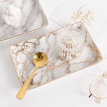 Minimalist Nordic Gold Marble Pattern Ceramics Desk Storage Plate Chic Dessert Fruit Jewelry Office Trays