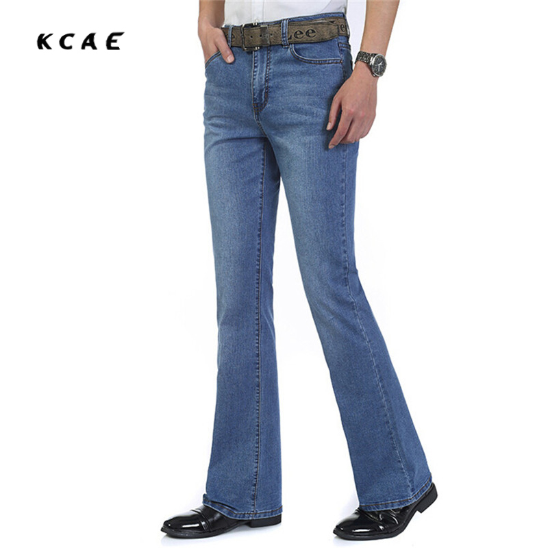 Mens jeans boot cut leg slightly flared slim fit blue male jeans designer classic denim Jeans