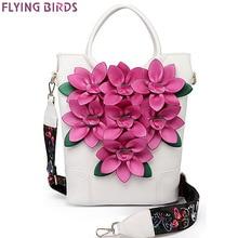 Flying birds frauen handtasche luxus blume einkaufstasche eimer umhängetasche damen messenger bags nationalen stil lm4384fb