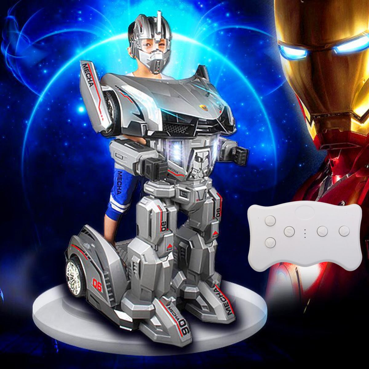 LEORY RC Manned Movable Humanoid Robot Cars Transformer With LED Headlight 25W Motor For Kids Children'Day Gift Amusement Park(China)