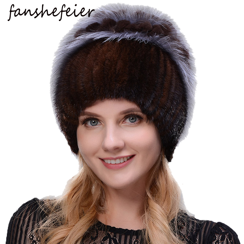 Fanshefeier Fashion Fox Fur Rabbit Hair Fur Hats For Women Luxury Real Mink Caps Warm In The Winter Female Beanies