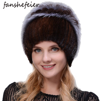 Fanshefeier Fashion Fox Fur Rabbit hair Fur Hats for Women Luxury Real Mink Caps Warm In The Winter Female beanies