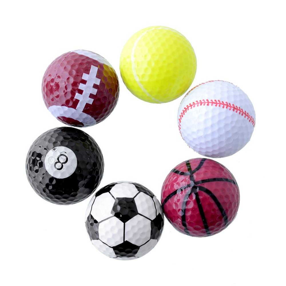 6pcs/set Rubber Novelty Assorted Creative Champion Sports Golf Balls Joke Best Present Gift