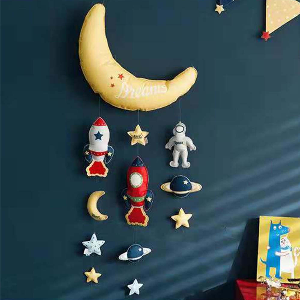Bed Bell Toys Star Moon Rocket DIY Baby Toy Handmade Circling Baby Rattles Crib Mobiles Newborn Holder Musical Box Baby Bed Toys