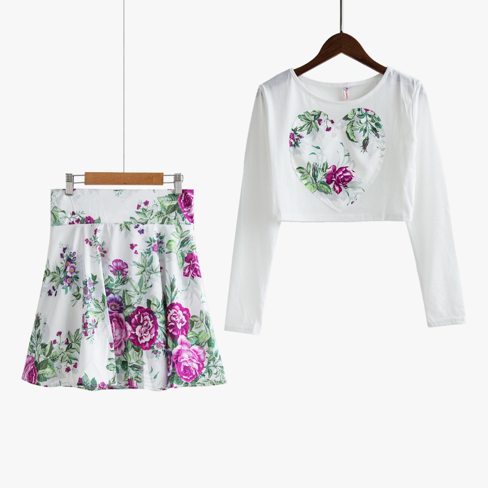 New 2017 Women s Set Floral Love Heart Print Long Sleeve Crop Top Skirt Mini 2