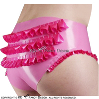 Metallic Pink With Rose red Sexy Latex Briefs With Ruffles Rubber Underwears Panties Underpants DK 0131