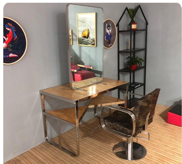 Stainless Steel Hair Dressing Mirror Barber Shop One - Sided Two - Sided Retro Hair Mirror Makeup Mirror Hair Salon Matching .