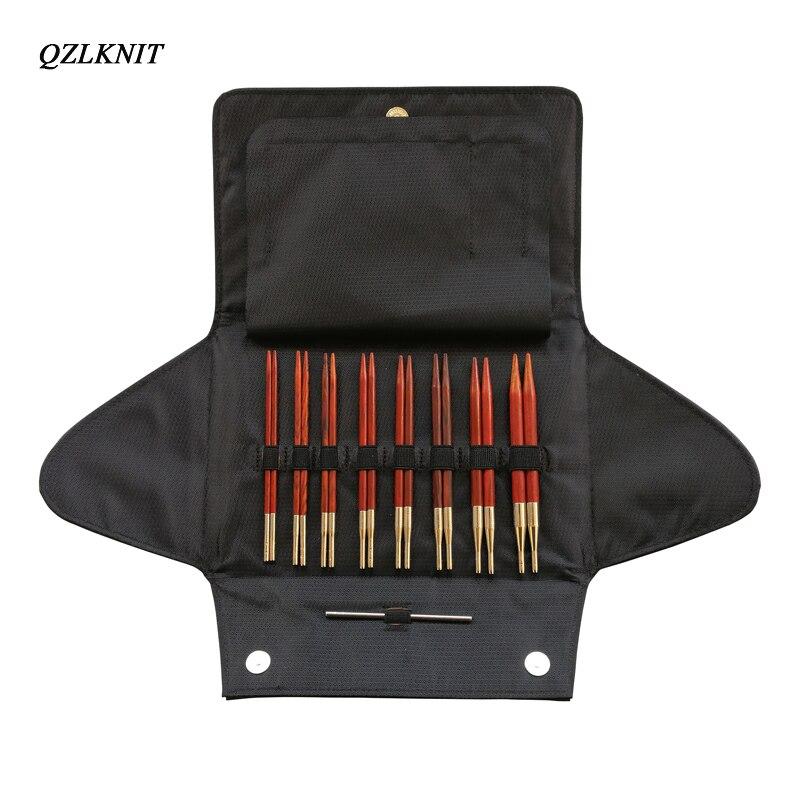 QZLKNIT Rosewood agujas de tejer conjunto de tubo de nailon aguja circular intercambiable de punto 3,5mm 8,0mm hilo DIY accesorios de punto-in Agujas de coser from Hogar y Mascotas    3