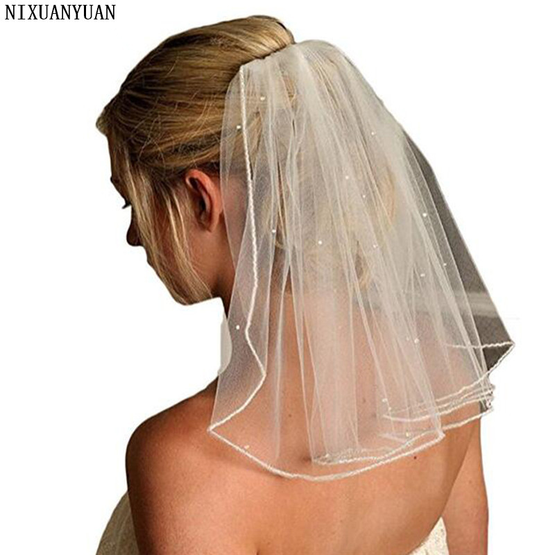 NIXUANYUAN Cute Single Layer Bridal Veils Light Weight Soft Tulle Crystals White Ivory Shoulder Length Wedding Veil With Comb